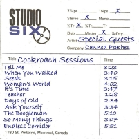 Special Guests, CD titled, Cockroach Sessions