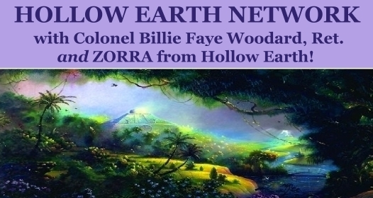 Hollow Earth Network with Billie Fay Woodard and Dale Benadum, banner