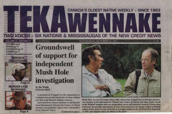 The censored excavation of children's remains at the Mohawk residential school, Brantford, Ontario by Mohawk elders and the ITCCS/Kevin Annett (October-November, 2011):