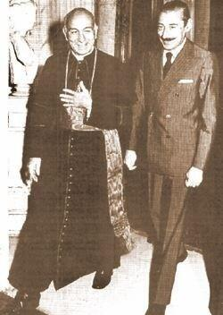 "Jorge Bergoglio (""Pope Francis"") with Argentine dictator General Videla, 1982"