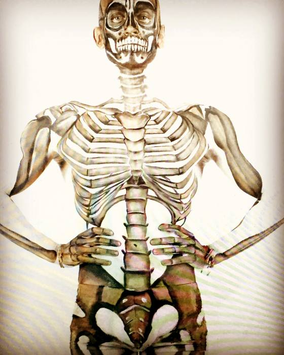 Body Painted Skeleton Structure on Adam Gates