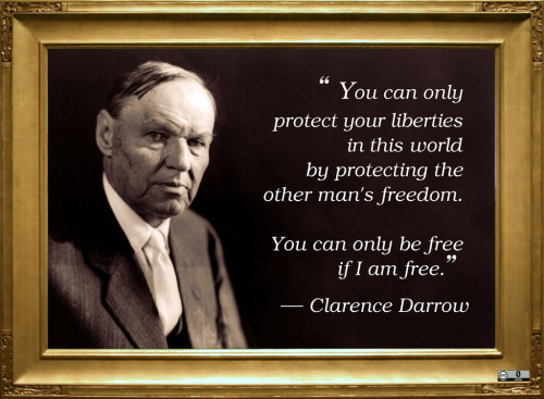 You can only protect your liberties in this world by protecting the other man's freedom. You can only be free if I am free. Quote by Clarence Darrow