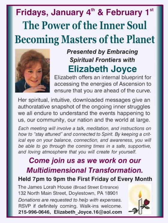 Come join us FRIDAY - APRIL 5th - as we work with the new, different version of our bodies. Find Inspired Information and guidance as your spirit self becomes your day-to-day self.
