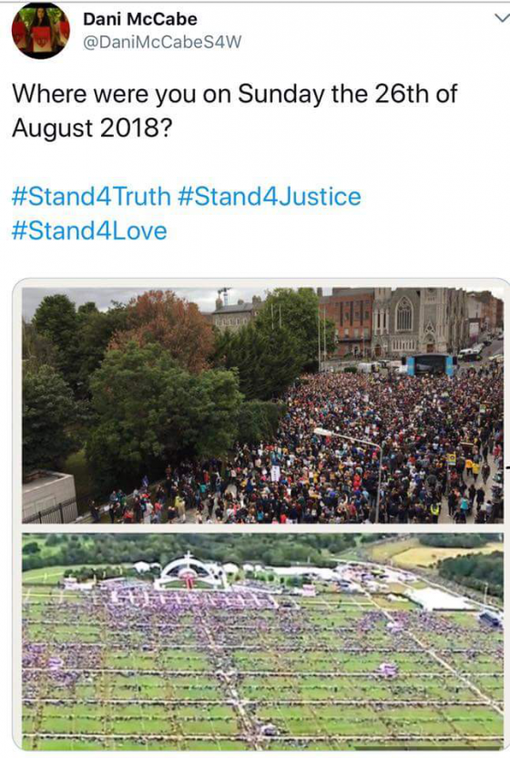 "Top: Thousands of anti-Pope protesters in Dublin, August 26, 2018   Bottom: Half filled ""papal mass"" the same day in Phoenix Park"