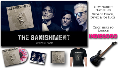 The Banishment is a three-piece passion project and collaboration between guitarist GEORGE LYNCH, programmer & multi-instrumentalist JOE HAZE & LA based artist DEVIX