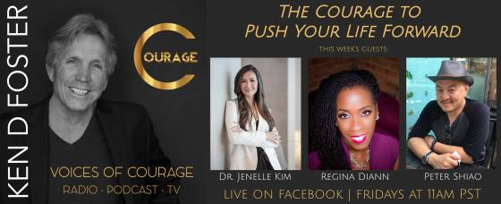 Guests, Dr Jenelle Kim, Regina Diann, and Peter Shiao, The Courage to Push You Life Forward