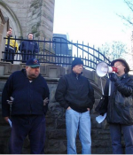 Church Eviction, March 16, 2008: Elder Kiapilano (centre) with Kevin Annett