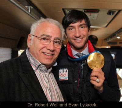 Dr. Robert A Weil, D.P.M. with Evan Lysacek, Gold Medalist