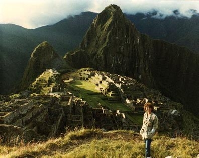 Linda Moulton Howe at Machu Picchu, Peru, exploring the ancient Inca site.