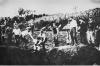 Execution of a Serb by Catholic Ustashe guards, Jasenovac death camp, Croatia