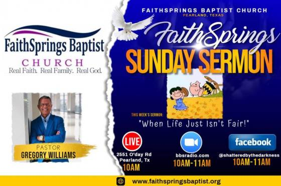 "FaithSprings Baptist LIVE with Dr. Gregory Williams ""Pastor Greg"""