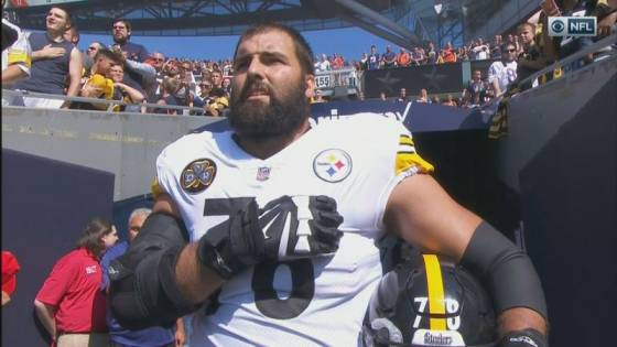 Alejandro Villanueva stands for the National Anthem while his team stays in the locker room.