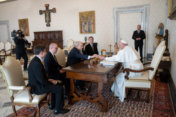 "Shaking Hands with the Devil, but which one?  'Pope Francis"" makes a deal with Mormon 'Prophet' Russell Nelson March 10, 2019, Vatican City"